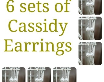 6 Sets of Cassidy Pearl Bridal Earrings, Six Sets of Bridesmaids Pearl Earrings, Wedding Earrings, Bridal Earrings, Bridal Gifts