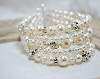 Bridal Bracelet, Pearl Bracelet, Wedding Bracelet, Ivory Swarovski Pearls, 5 Strand Bracelet, Rhinestone, Cuff Style Five Strand Bracelet