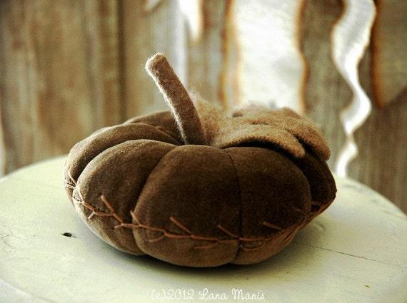 Velvet Pumpkin - Mushroom Brown - CSSTEAM - Pincushion - Autumn Decor - Feather Stitching Detail
