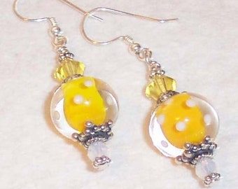 LEMON DROP Yellow Lampwork Glass Silver Earrings BHV