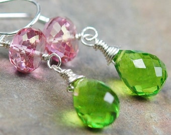 Earrings, Pink Green, Quartz, Peridot Gemstone Briolettes Wire Wrapped, Sterling Silver Ear Wires, Rosalie