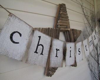 christmas Glittered Painted Burlap Banner