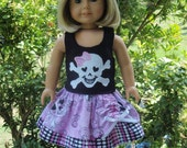 18 inch Girl Doll Clothes Pirate Twirl Skirt Skull and Crossbones Applique Top