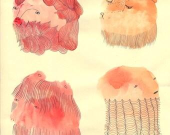 SALE Monster Splodge Sketch Style V3 Original by Emma Kidd