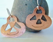 Cute Copper Pumpkin Earrings, handcut, hammered, sterling silver earwire, autumn, fall, Halloween