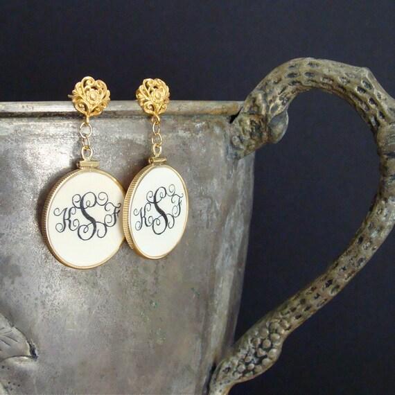 Monogrammed Token Earrings - Libby Earrings
