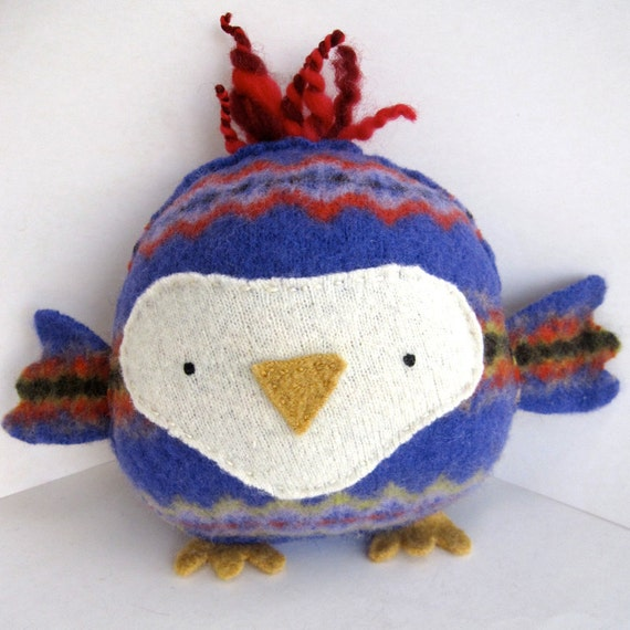 Big Purple Owl - Recycled Wool Plush Toy MADE TO ORDER