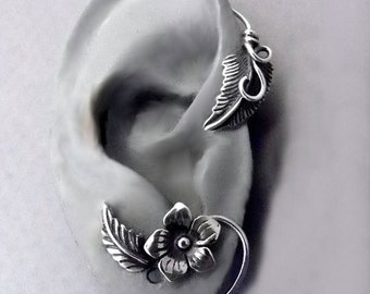 Sterling Flower and Leaf  Ear Wrap - SUMMER - Silver Ear Cuff Wrap for RIGHT Ear