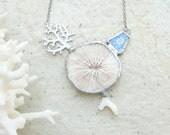 Mushroom Coral Necklace - Coral, metal, solder, beach pottery - Sea Treasure Collection