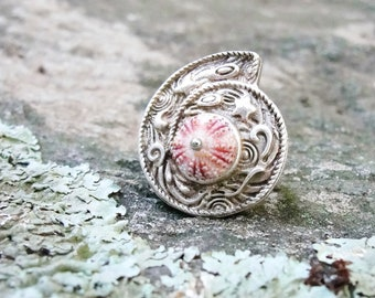 Pink Sea Urchin Ring A Shell in a Shell