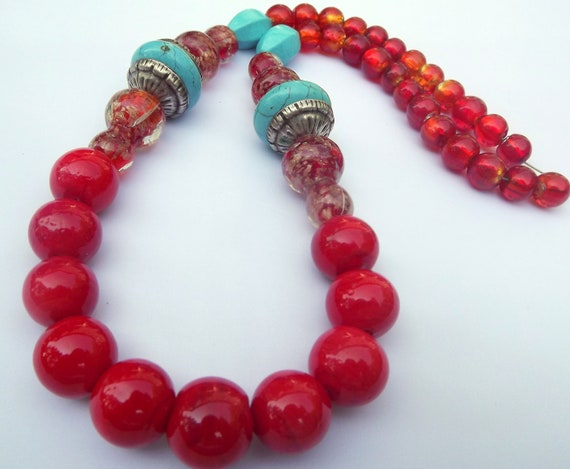 50% OFF Festive Red Tibetan style Necklace - artisan glass and blue turquoise beads - OOAK unique designer peace