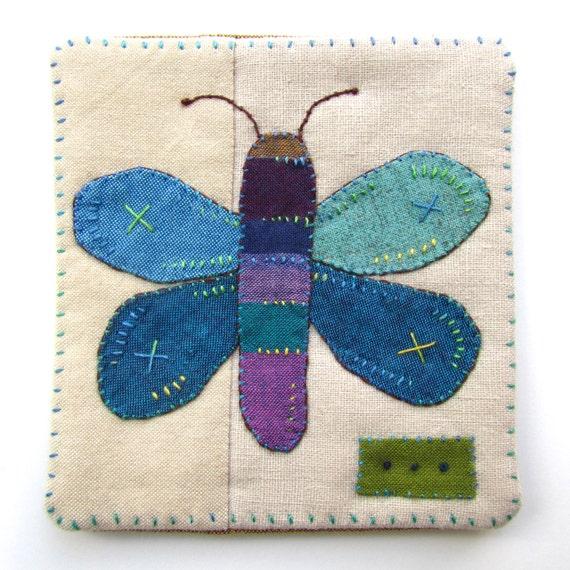 Textile Wall Hanging / Miniature Art Quilt  / Hand Embroidered Art / Blue Butterfly / Kids Decor