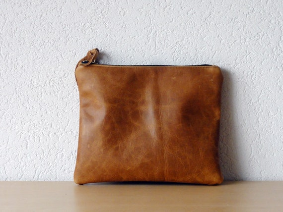 Leather Clutch in Brown Thick Cow Leather