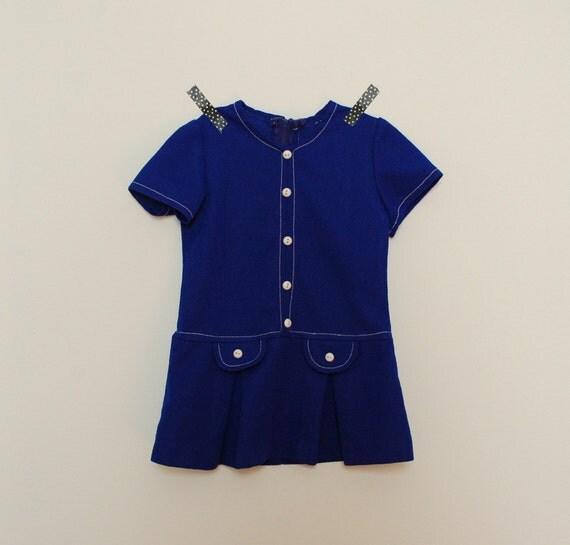 vintage girls dress 1960s mod  blue dress short sleeve girls dress