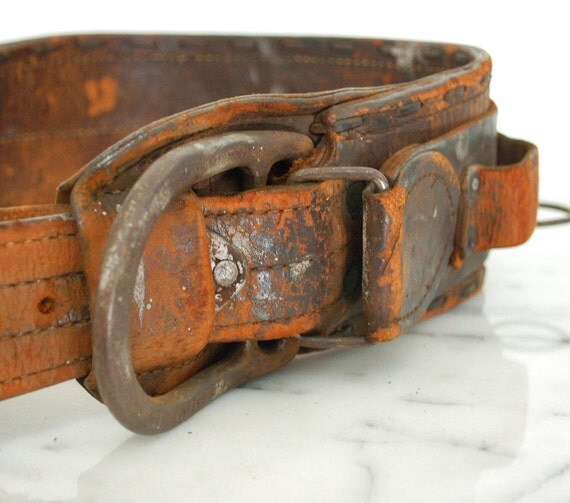 vintage linemen's climbing tool belt leather tool belt with accessories