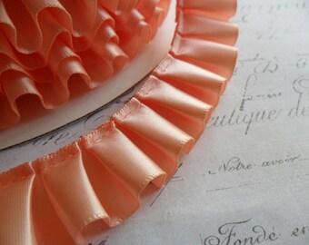 Perfect Peach Satin Box Pleat  Ruffle 7/8 wide ribbon trim