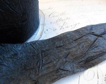 1.5 inch Coal Black Silky  Sheer Crushed Ribbon