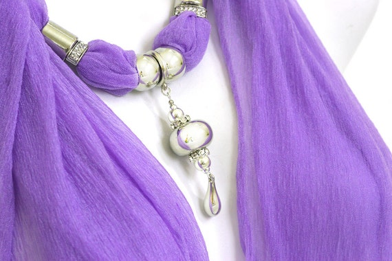 Scarf Jewelry  With Pendant Purple Scarves With Pendants Necklace Scarfs