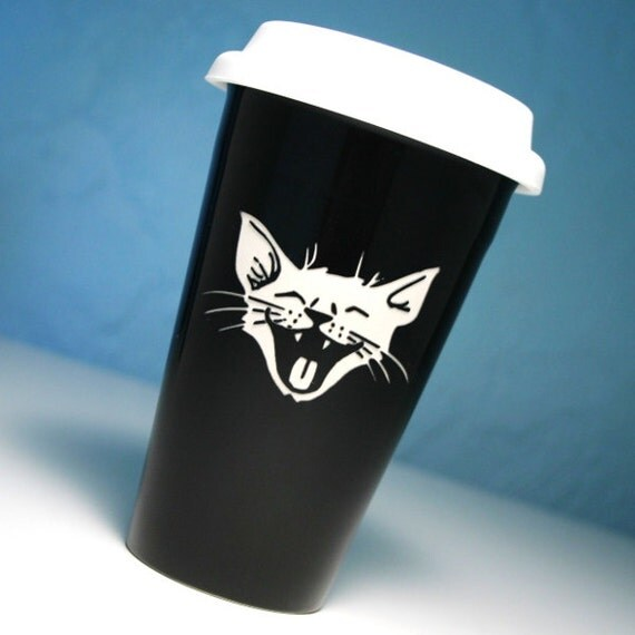 Ceramic Travel Mug - Laughing Cat - BLACK happy kitty to-go coffee cup