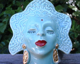 Sale Vintage Goddess Wall Pocket Turquoise Blue Gold Earrings Vase Bindi Mint Epsteam