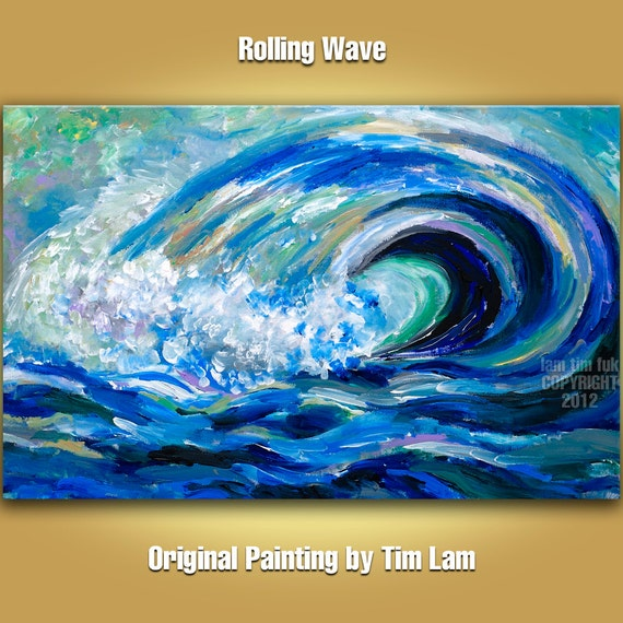 Huge Rolling Ocean Wave, Contemporary Sesacape ocean blue, Original acrylic painting 36x24x1.6