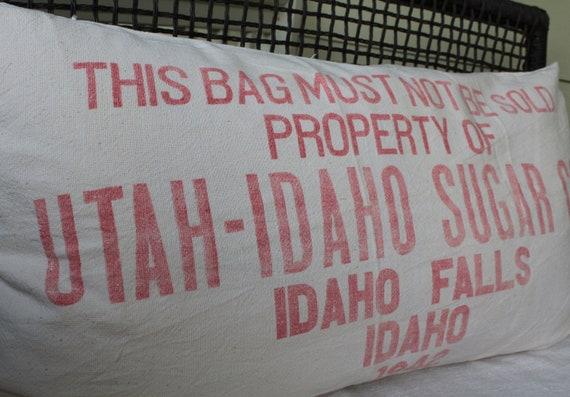 Vintage Grainsack Pillow Cover - Sugar Sack - Utah-Idaho Sugar Co. - Idaho Falls - 1942 - Heavy Grain Sack - Red Cream - King Size Bolster