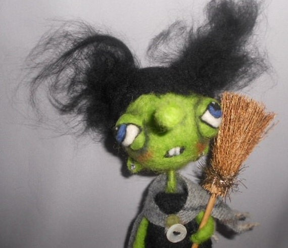 Wilma the Witch Ooak  needle felted art doll