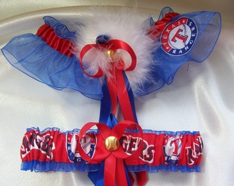 Texas Rangers Wedding Garter Set with Marabou Pouf  Handmade  Keepsake and Toss
