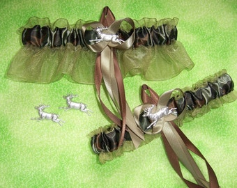 Deer Camouflage Wedding Garter Set on Moss