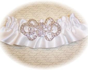 White Satin Wedding Garter - bridal lingerie RB 494