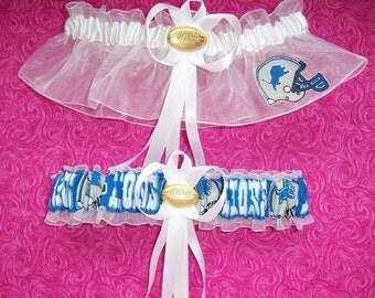Detroit Lions Wedding Garter Set  Handmade   Keepsake and Toss
