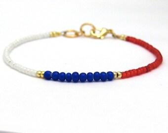 Red White Blue Bracelet, Patriotic Bracelet, 4th of July, Friendship Bracelet, Seed Bead Bracelet, Beaded Bracelet, Made in USA