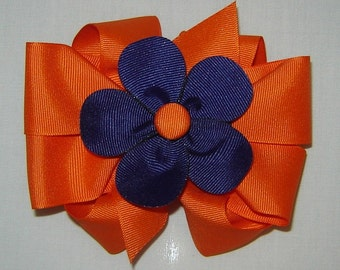 3 in One Hairbow in Orange with Navy Petal