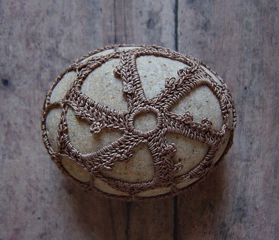 Crocheted Lace Stone, made with Soft Brown Thread and Beige Stone, Handmade by Monicaj