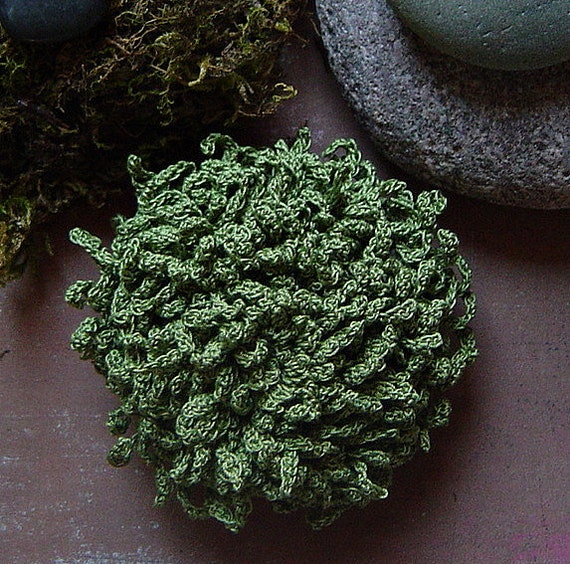 Folk Art, Mixed Media, Crocheted Moss Stone, Original, Handmade, Table Decorations, Nature, Growth, Garden, Decorative Arts