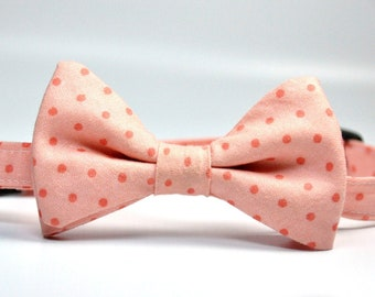 Coral Pink  Polka Dot  Bow Tie for Boys Bowtie