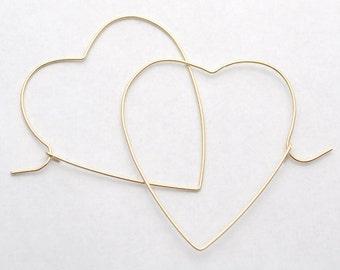 Gold heart earrings, Heart Earrings, Gold Hoops, Valentines Gift, Valentine Jewelry, Gold Heart Hoop Earrings