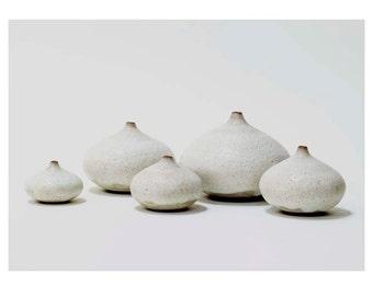 Set of 5 Ceramic Droplet Vases in Rustic White Crater Glaze by Sara Paloma. home decor white modern pottery vase