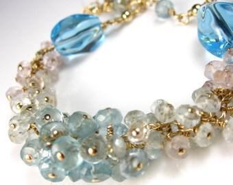Eclipsing the Rain with Blue Skies Bracelet - Aquamarine and Swiss Blue Topaz