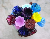 Handmade Lampwork Glass Bell Flower Beads/Headpins by All My Beads Large Size Multicolors  Made to Order