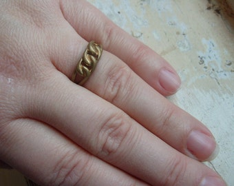 FREE SHIPPING Vintage Brass Ring Industrial Link Style Size 9 1/2