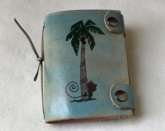 Light Blue Leather Mini Journal with Monkey and Palm