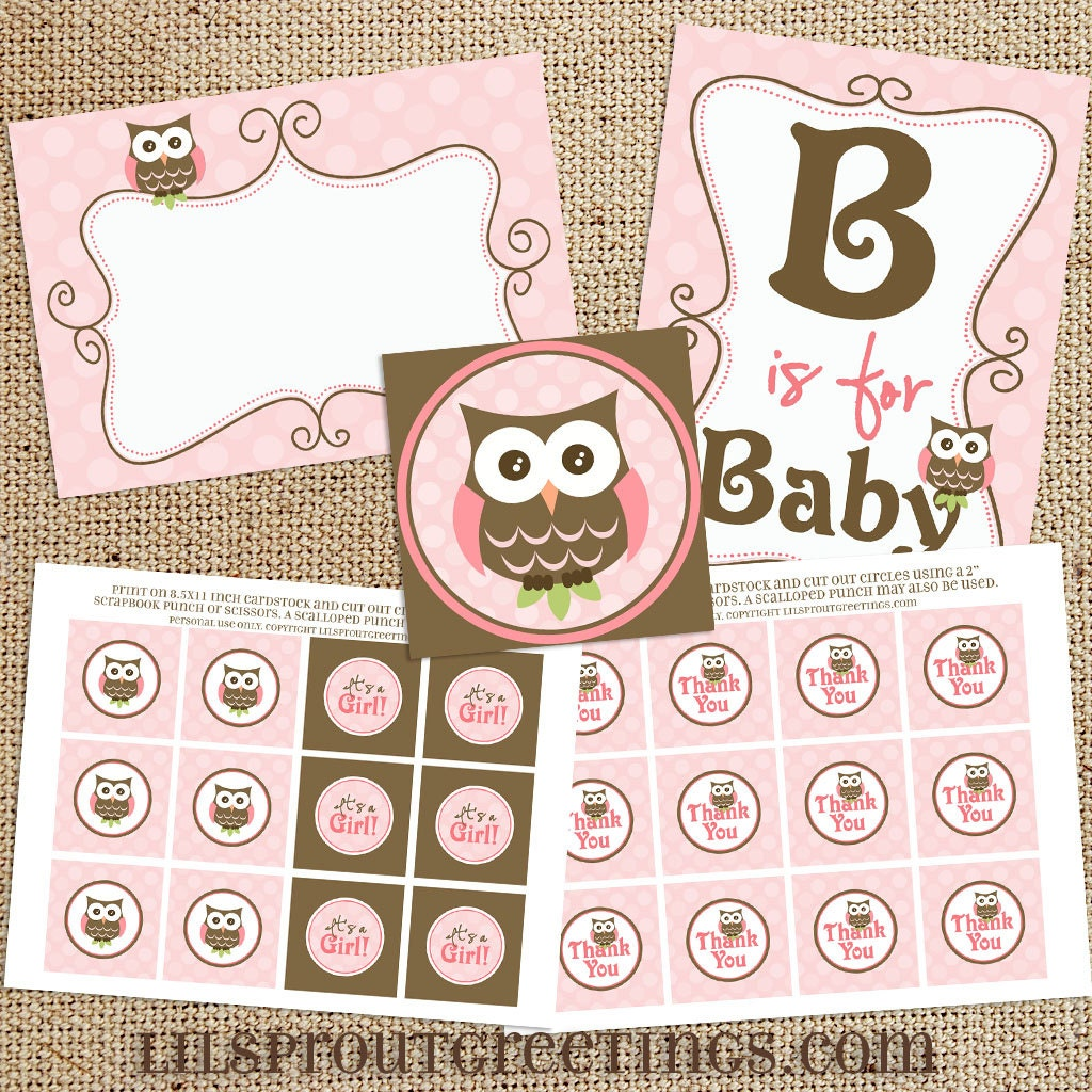 Girl owl baby shower printable decorations instant download for Baby owl decoration