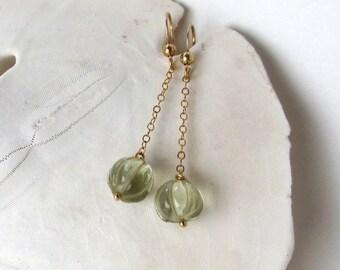 Green Amethyst Earrings, Carved Prasiolite Earrings, February Birthstone Earrings, Long Gold Earrings, Mint Green Gemstone Earrings, Halia