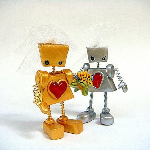 Two Gay Robot Girls Wedding Cake Topper