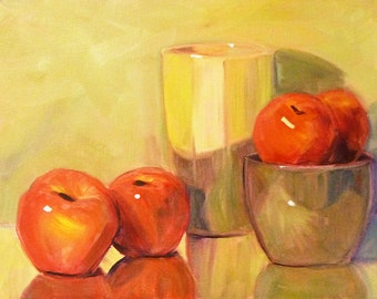 Still Life Oil Painting, Original Stretched Canvas,11x14, Fruit Painting, Apples, Wall Decor, Kitchen Art, Kitchen Decor, Red Green, Yellow