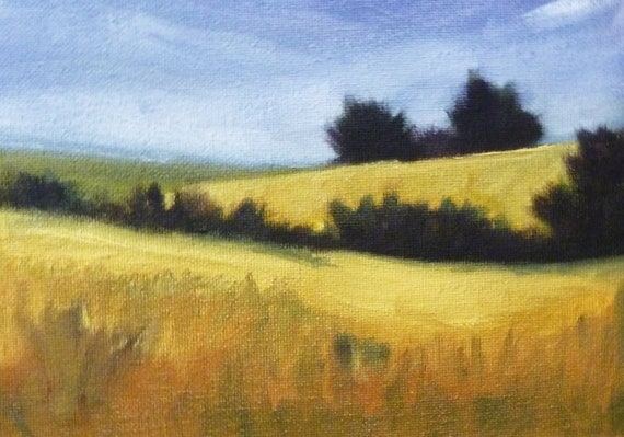 Meadow Landscape Original Field Oil Painting On Canvas Small