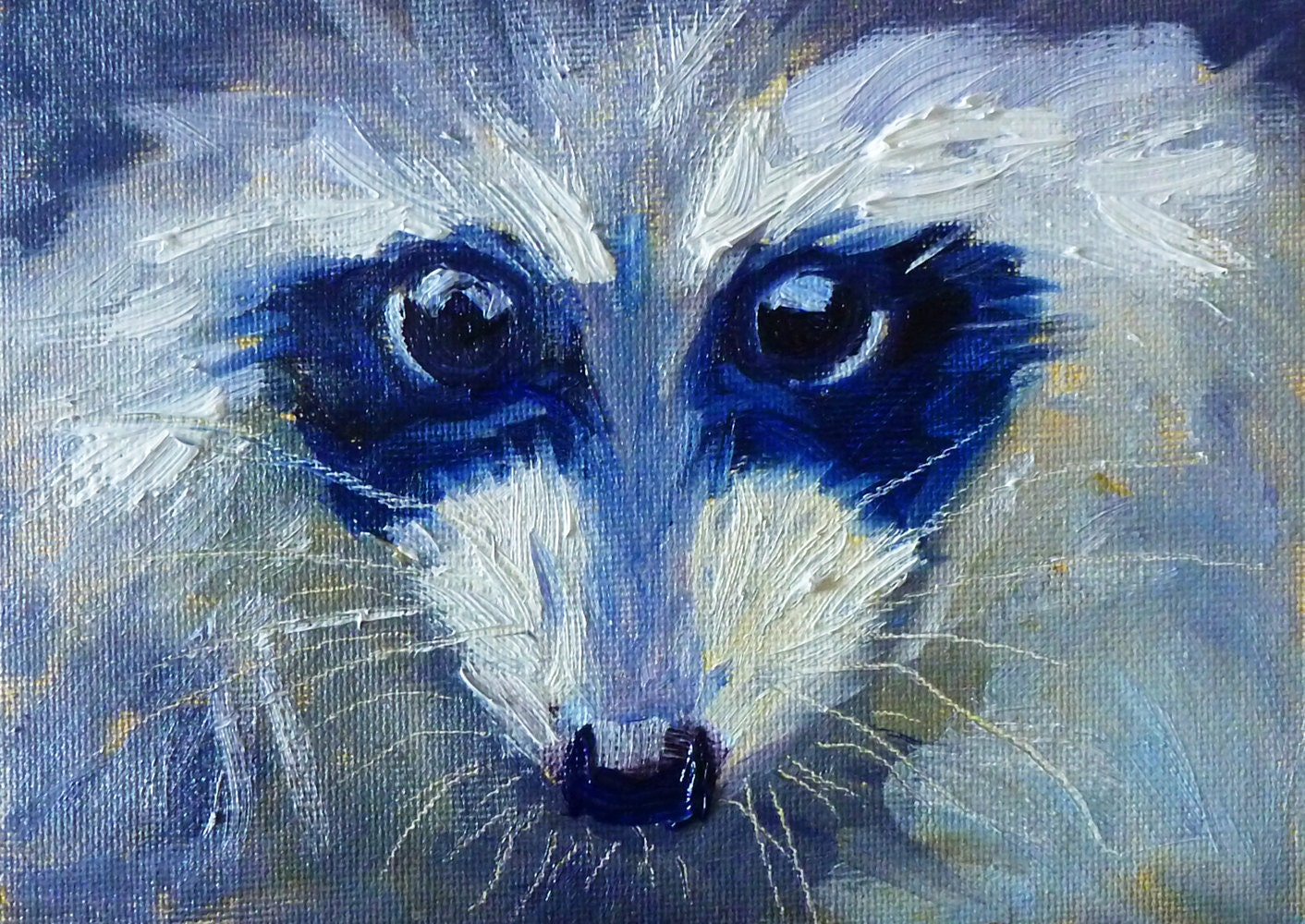Raccoon Painting Oil on Canvas Original Wildlife Art Small Raccoon Painting