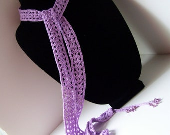 Crocheted lavender scarf with beads