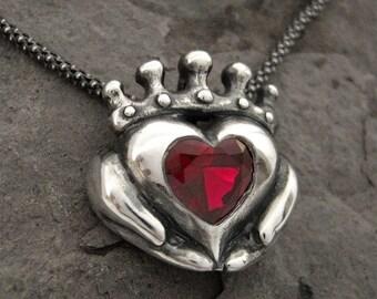 Birthstone Claddagh Necklace - Personalized Gemstone Heart - Custom - Designer Jewelry - Handmade - Gifts For Her - Rickson Jewellery 129